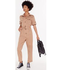 womens it's goin' button-down belted boilersuit - camel