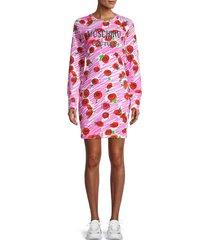 moschino women's floral t-shirt dress - pink - size 38 (4)