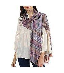 wool shawl, 'brilliant stripes' (india)