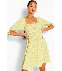 paisley print peasany skater dress, yellow