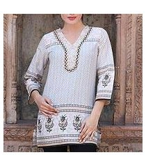 beaded cotton tunic, 'golden magic' (india)