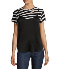 demi striped tee & silk slip