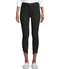 7 for all mankind women's gwen frayed cuff ankle jeans - night black - size 30 (8-10)