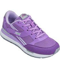 zapatos jogger aeroflex morado gris mf8922
