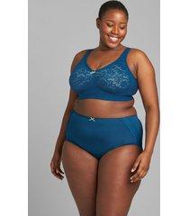lane bryant women's lace unlined no-wire bra 44c poseidon blue