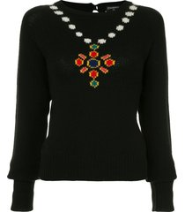 chanel pre-owned necklace intarsia jumper - black