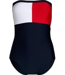 tommy hilfiger women's bandeau tommy flag one-piece swimsuit - navy - size s