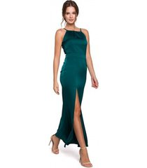 lange jurk makover k042 maxi-jurk met vastgestrikte halslijn - kastanjebruin