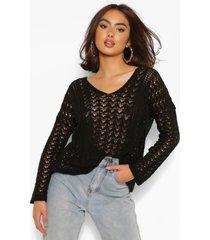 crochet knit sweater, black