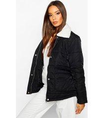 borg collar puffer jacket, black