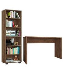 conjunto escritório 2 peças mesa gávea e estante office avelá - móveis leáo