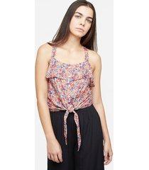 blusa estampado floral con anudado