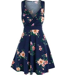 floral print sleeveless surplice dress