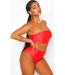 plus mix & match bandeau bikini, red