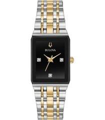 bulova women's futuro diamond-accent two-tone stainless steel bracelet watch 20.5x32mm, created for macy's