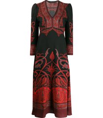 etro paisley print flared dress - black