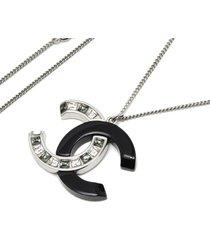 chanel cc rhinestone pendant necklace silver, black sz:
