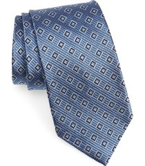 men's nordstrom men's shop medallion silk tie, size regular - blue