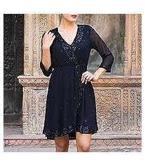 beaded viscose dress, 'georgette glamour' (india)
