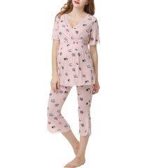 women's kimi and kai foxy maternity/nursing pajamas, size x-large - pink
