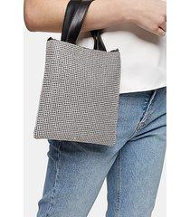 sass silver diamante pouch bag - silver