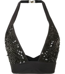 amir slama sequinned bikini top - black