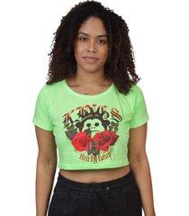 camiseta kings sneakers cropped floral verde neon