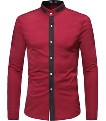 mens casual business patchwork hit colore manica lunga sottile fit fashion camicia