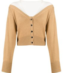 alexander wang fitted cropped cardigan - neutrals