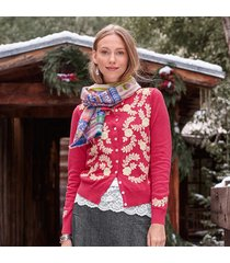 meadow crewelwork cardigan sweater