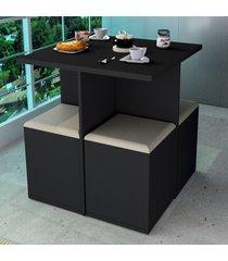 mesa de jantar 4 lugares preto/bege con1201 - appunto