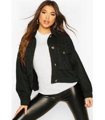mock horn button boxy oversized jean jacket, black