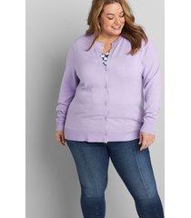 lane bryant women's button-front cardigan 26/28 lilac blooms 50-0054