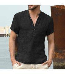 camisa de verano de los hombres nueva moda de manga corta de algodón-negro