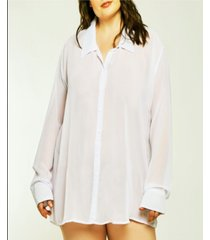 icollection london chiffon button down boyfriend sleep shirt