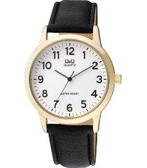 reloj q&q elegante pulso en cuero  color negro analogo