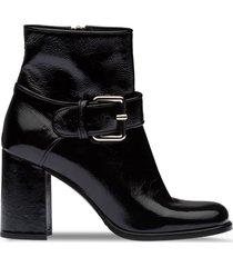 miu miu patent leather booties - black