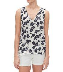 blusa sin mangas cuello v blanco gap