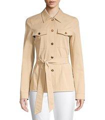 lafayette 148 new york women's john pima cotton jacket - clay - size 10