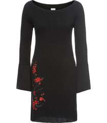 abito in maglia con ricamo (nero) - bodyflirt boutique