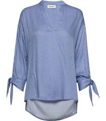 bea print shirt overhemd met lange mouwen blauw modström