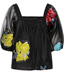 blouse blouses short-sleeved svart ganni