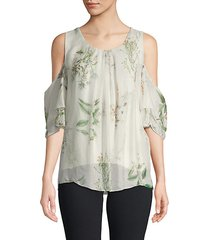 floral-print silk cold-shoulder top