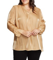 plus size women's vince camuto iridescent henley tunic, size 1x - brown