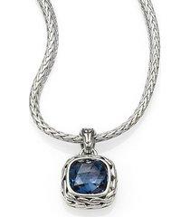 classic chain sterling silver small square pendant necklace