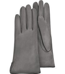 forzieri designer women's gloves, women's gray calf leather gloves w/ silk lining