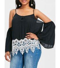 crochet trim shoulder cut blouse