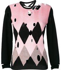 ballantyne distressed diamond sweater - multicolour
