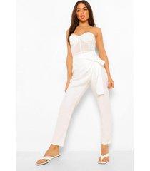 gedrappeerde slim fit broek met strikjes, white