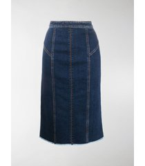 alexander mcqueen panelled mid-length denim skirt
